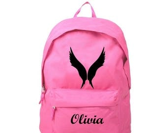 Backpack pink wings, personalized with name