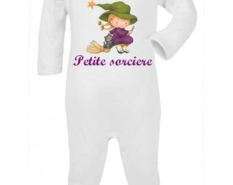 Personalized with name little witch baby pajamas