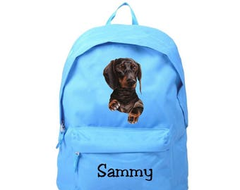 Dachshund blue backpack personalized with name