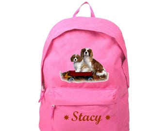 bag has pink back Cavalier king charles personalized with name