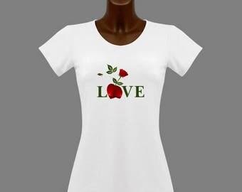 T-shirt women white love heart