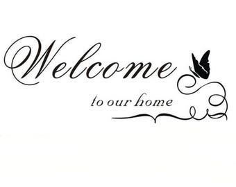 "P.V.C 200 Micron ""Welcome to our Home"" stencil reusable 28 x 11 cms"