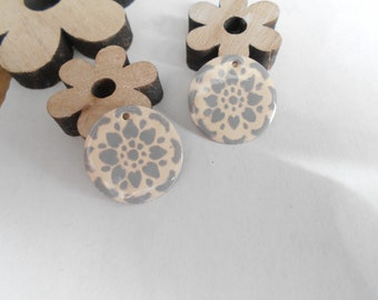 4 sequins pattern grey 20 mm 2-sided
