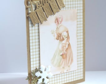 "greeting card ""happy new year"", mother and daughter, vintage style. Kraft paper"