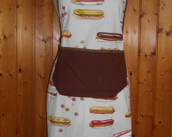 All cotton adult apron - coffee, chocolate eclairs...