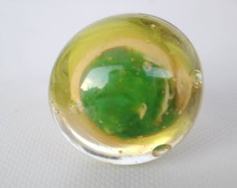 Ring - green and cream - yellow glass Lampwork