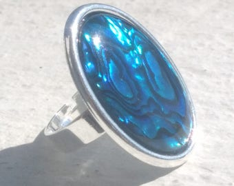 Pearl abalone on silver plated ring