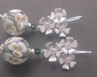 White and bronze Nasturtium flowers on stems and clear glass floral beads
