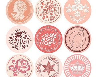 18 stickers stickers round pink color, theme romantic vintage 40mm