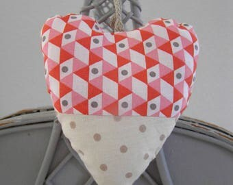 Decorative hanging fabric heart handmade Vintage n1 collection