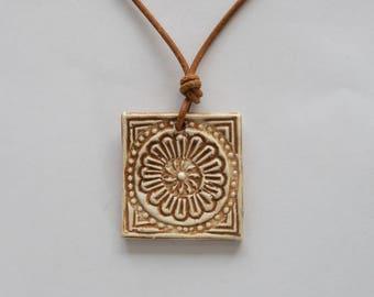 Square print ceramic pendant nice camel color flower