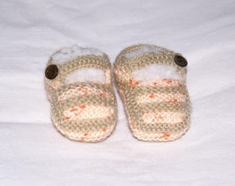 Chausson baby salmon beige and speckled knit