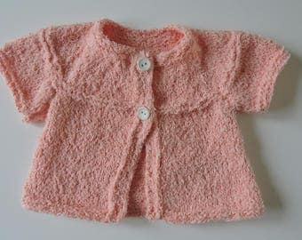 Small cotton hand knitted vest (cardigan)