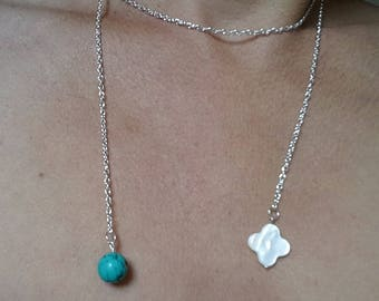 with mother of Pearl and turquoise Lariat Necklace