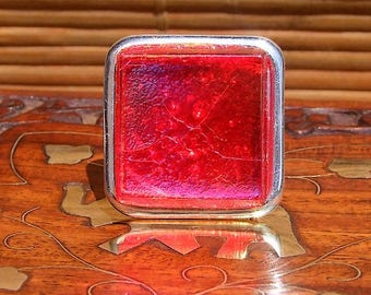 Silver plated adjustable square ring and molten Venetian red fused glass cabochon