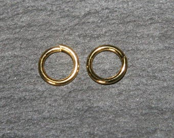 x 100 rings open gold plated 7mm thickness 1 mm