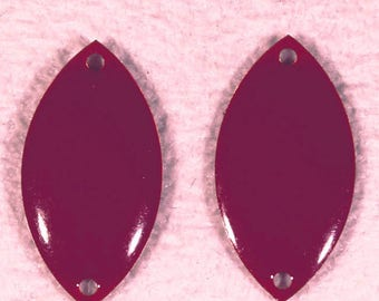 sequins 2 oval enameled raspberry connector brass 18x10mm