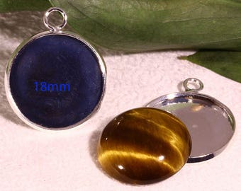 4 cabochon 16mm silver plated brass pendant holders