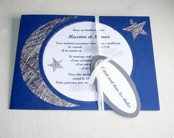 Starry night theme wedding invitation