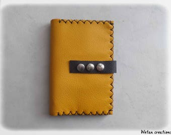 Wallet / purse leather ochre and black all in 1