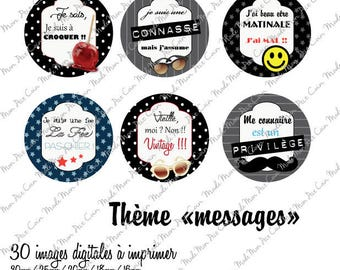 "Digital images for cabochons ""MESSAGES"" (30 images)"