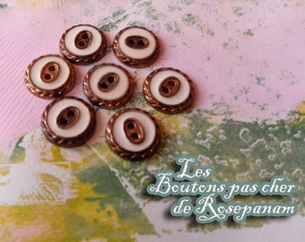 7 buttons vintage fancy cream and copper color 2 hole diameter of 1.5 cm