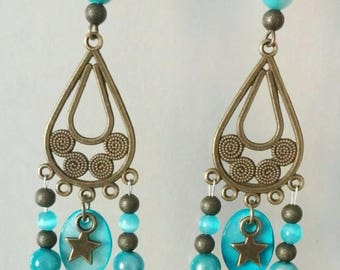 Earrings bronze and blue beads