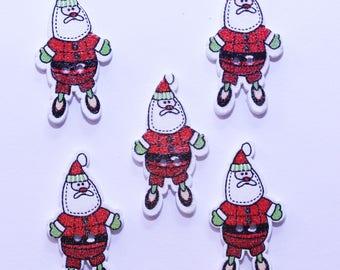 Button wood - Santa Claus Christmas / Santa Clause 19mm - set of 10 - 2523