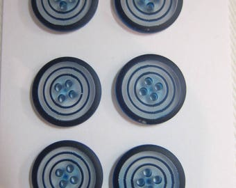 2 buttons 4 holes transparent spiral blue 15 mm