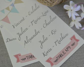 Table plan personalized wedding rustic christening ceremonies - model flags - set of 2/5/10 units