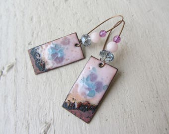rectangle charm enamelled copper, stone beads fine jade and glass, pink, purple and blue, girly, dyed soft curls