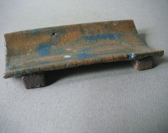 Raku ceramic spoon rest