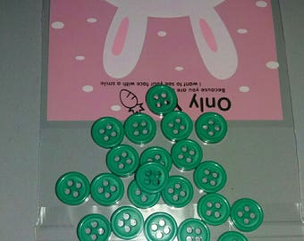 set of 25 buttons green embellissements.scrap...