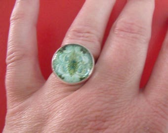 Ring glass cabochon 16mm clearance rosasse Green