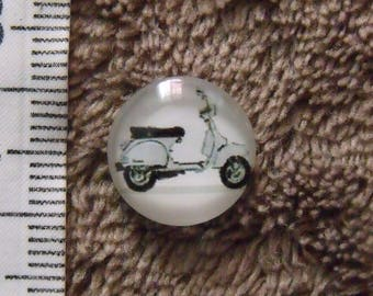 2 retro 12mm scooter glass cabochons
