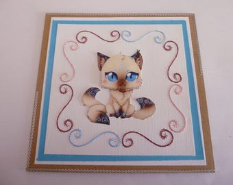 "201815 embroidered ""little Siamese cat"" card"