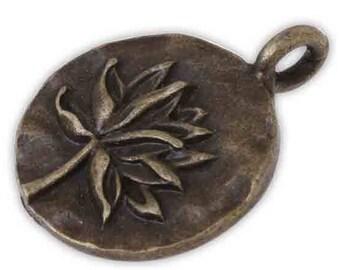 2 charm pendants 16 mm Lotus Flower meditation metal bronze