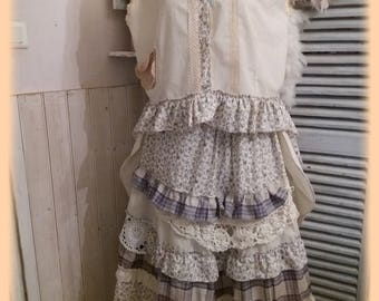 Ecru jacket coat Bohemian chic, shabby, gypsy, linen and wool Pinstripe cotton flowers, antique lace, buttons, sewing theme