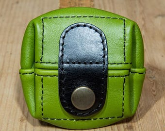Anise green, small leather purse model