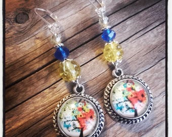 Cabochon dangle, Pearl Earrings / blue and yellow