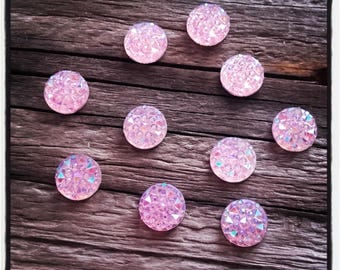 Acrylic set of 10 cabochons 10 mm pink