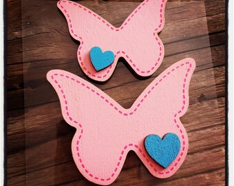 set of 2 butterflies in rosewood and blue heart