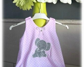 6 months - elephant applique a-line pinafore dress