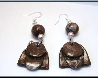 Cat charm and polymer clay Brown/pearl earrings and mouse in silver.