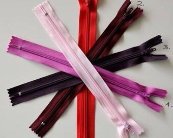Zipper - 20cms - red-purple colors
