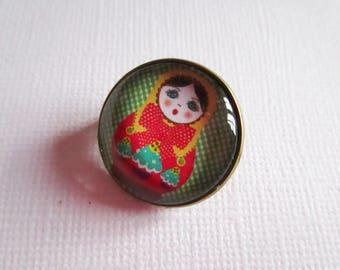 "Small ""Matrioshka"" brooch, costume jewelry, bronze"