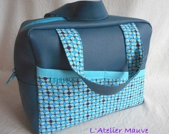 TOILETRY bag, VANITY, faux and form printed cotton, fully lined in coated