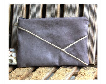 Pouch, gray suede shoulder bag, graphic line Golden - after the beach