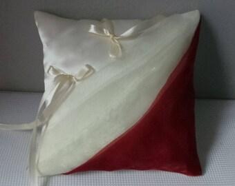 Burgundy ivory ring bearer pillow