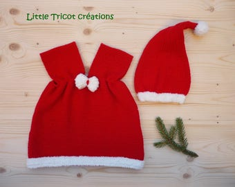 TO order: Set of Christmas red dress and Santa hat. (3 months) - (6 months) - (9/12 months) - (18/24 months)